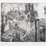 St. Anthony borne aloft - etching 6x7