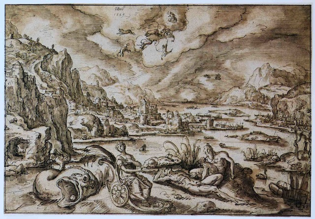 "Hans Bol - ""Landscape with the Fall of Phaethon"" 1569"