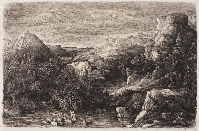 "Rodolphe Bresdin - ""Bathers in a Mountain Pool"" 1865 (Art Institute of Chicago)"