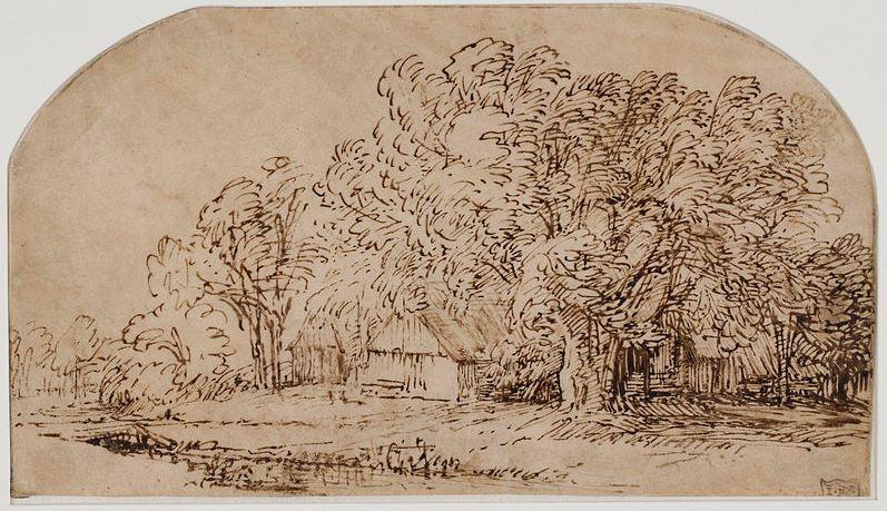 """Rembrandt - """"Landskab med hytter under store træer"""" c.1650 (W'ped)"""