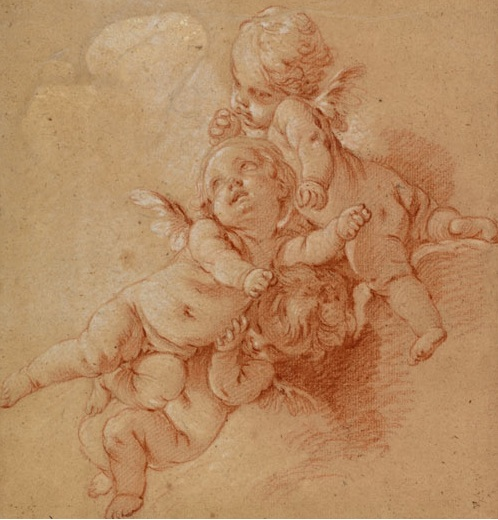 "Boucher  ""Three Putti Among Clouds""  c.1750 [Cantor Arts Center]"