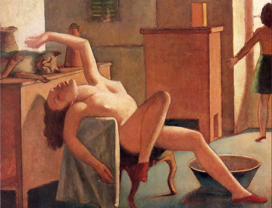 """nude with cat"" 1949 [Wikipaintings.org]"