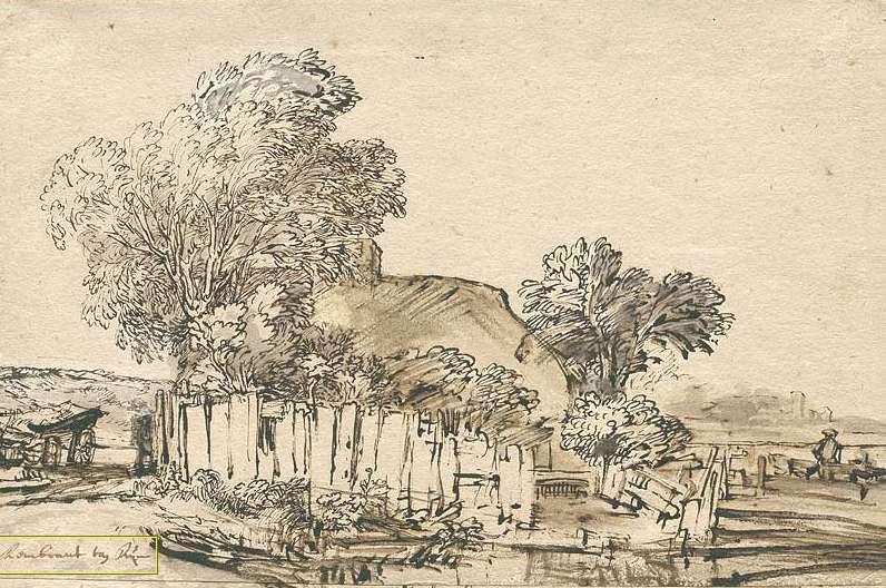 "Rembrandt ""cottage"" 1648 [wikimedia.org]"