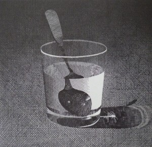 """Glass With Spoon"" etching 10x11 1982"