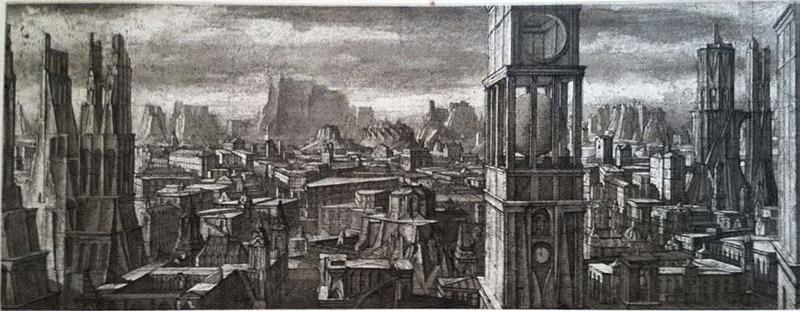 Desmazieres-Ville Imaginaire II -1999 7x18_ [Warnock Fine Arts]