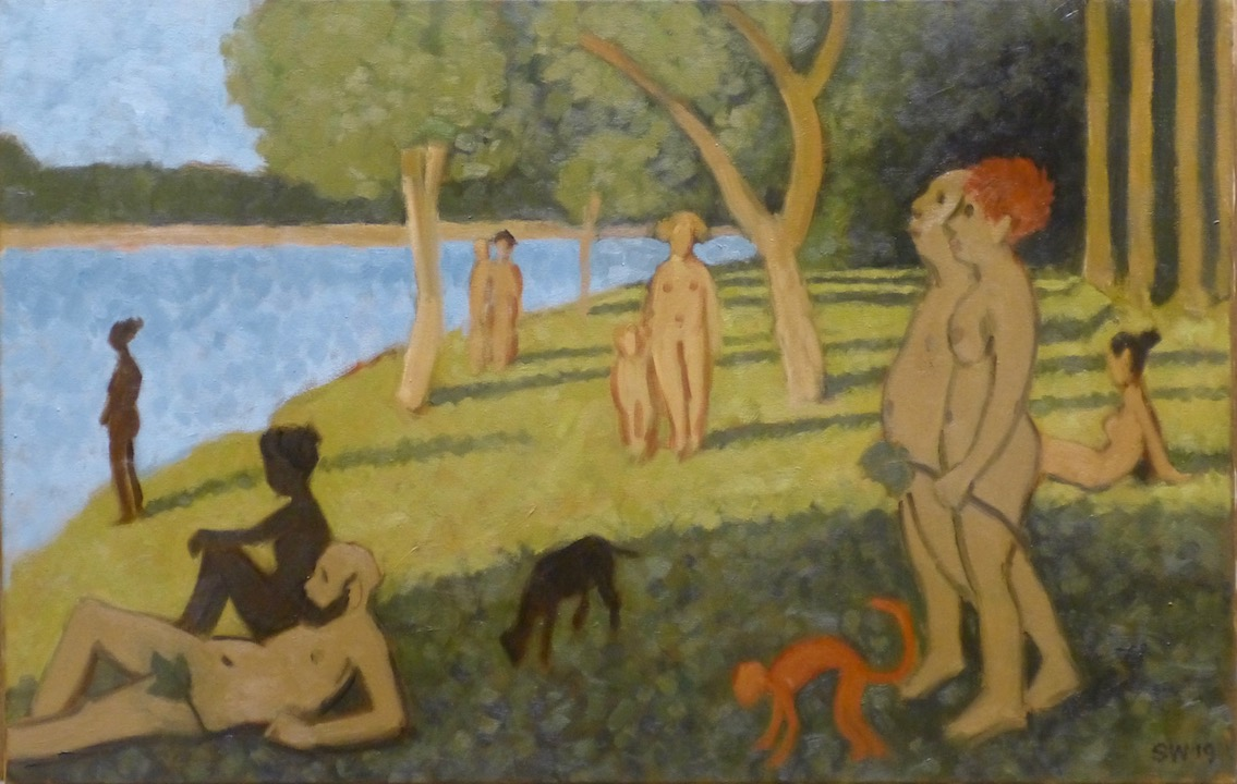 Models Guild at La Grande Jatte  o/c  18x24  2019