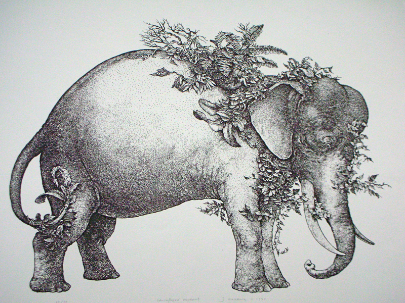 camouflaged elephant - lithograph 18 x 22